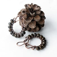 Beaded hoop earrings - dark brown bronzite gemstone beads - copper wire wrapped