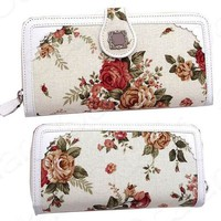 New Women Floral Zipper Checkbook Credit Cards Bag Purse Clutch Wallet Free Ship