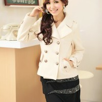 Graceful Lapel Apricot Comfortable Short Coats : Wholesaleclothing4u.com