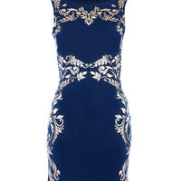 Navy Baroque Mirror Print Bodycon - Clothing - desireclothing.co.uk