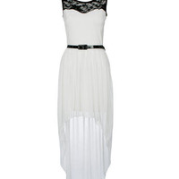 White Lace Top Mixi Dress - Clothing - desireclothing.co.uk
