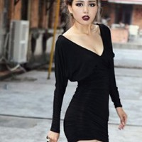 Tempting Ladies Deep V-neck Bat-wing Dresses Black : Wholesaleclothing4u.com