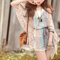 Yoco Style Batwing Sleeve V Neck Ladies Blouses : Yoco-fashion.com