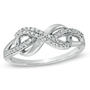 1/5 CT. T.W. Diamond Infinity Loop Ring in Sterling Silver - View All Rings - Zales
