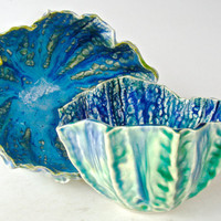 Ceramic bowls, bowl set, Ocean bowls in turquoise green and blue