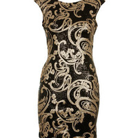 Black/Gold Paisley Sequin Bodycon Dress - Clothing - desireclothing.co.uk