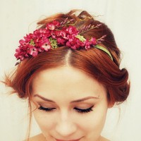 Francesca  a romantic floral crown by gardensofwhimsy on Etsy