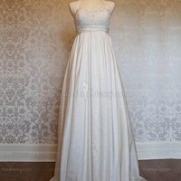 Empire Halter Floor-length Taffeta White Wedding Dress With Pleating at Msdressy