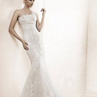 Trumpet/Mermaid One Shoulder Sweep Train Lace White Wedding Dress  at Msdressy