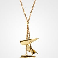 Dangling Paper Airplanes Necklace | Brass Necklace | fredflare.com