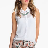 Lush Lace Back Chiffon Shirt (Juniors) | Nordstrom