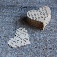 300 Vintage Book Wedding Heart Cutouts Shabby Decor