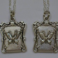Silver Butterfly Locket Necklaces for Friendship or Sisters, Set of 2