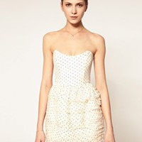 Camilla & Marc Strapless Dress In Polka Dot With Ruffle Skirt at asos.com