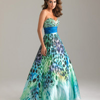 Green & Blue Animal Print Beaded Charmeuse Satin Strapless Empire Waist Prom Gown - Unique Vintage