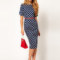 ASOS Pencil Dress In Wiggle Shape And Spot Print at asos.com