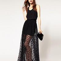 ASOS Maxi Skirt In Mesh Spot at asos.com