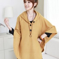 Lovely Fashion Bat Sleeve Loose Capes Yellow : Wholesaleclothing4u.com