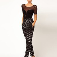 ASOS Spot Peg Jersey Trousers at asos.com
