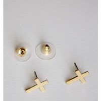 Gold Cross Earring