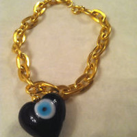 Black Heart Shaped EVIL EYE GOLD Charm Bracelet Kabbalah Middle Eastern Kawaii | eBay