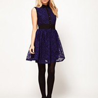 ASOS Mini Lace Dress With Elastic Waist at asos.com