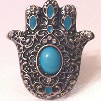 Silver colored Hamsa Hand of God Ring one size (Kaballah Evil Eye Unique Jewelry | eBay