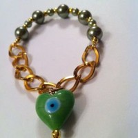 Evil Eye Bracelet Gold &amp; Green Pearls Unique Handmade | eBay