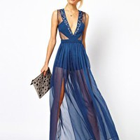 ASOS PETITE Panelled Maxi Dress With Embellished Organza at asos.com