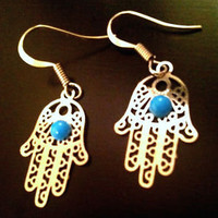 Hamsa Hand of God Fatima Silver Earring Kabbalah Evil Eye Middle Eastern Jewelry | eBay