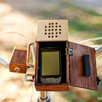 $400.00 Wooden Detachable Bicycle Stereo for your Smartphone by MrLentz