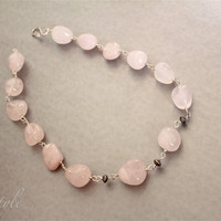 Gemstone Necklace Rose Quartz Stone Pink Chunky Necklace Sterling Silver Handmade beaded Luxe Style
