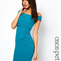 ASOS PETITE Exclusive Sexy Draped Pencil Dress With Off The Shoulder Detail at asos.com