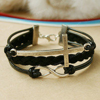 Christmas gift - black cross bracelet for girls and boys, black antique silver infinity bracelet