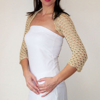 Cream Wedding Bolero Shrug cotton lace crochet bridal bolero jacket size S M