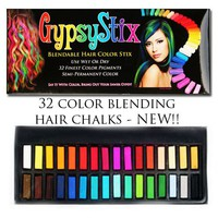 Hair Chalk - 32 Blendable Colors - Lasts up to 3 Days Conditioner Built in