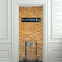 "Wall Door STICKER harry potter platform 9 decole poster 30x79""(77x200cm)"