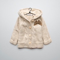 cable knit coat with bows - Coats - Baby girl (3-36 months) - Kids - ZARA United States