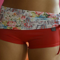 Shorts in roses and red for Bikram yoga