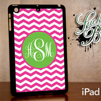iPad Mini Hard Case - Chevron Monogram Pink and Green - Tablet Cover IPM