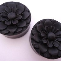 Flower Ebony Wood Plugs (2 gauge - 2 inch)