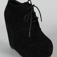 Harlem-1 Lace Up Platform Wedge Bootie