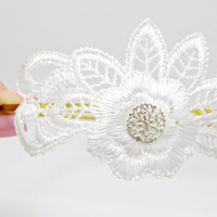 Headband white Lace with Silver Plated flower Hair bride headpiece weddings