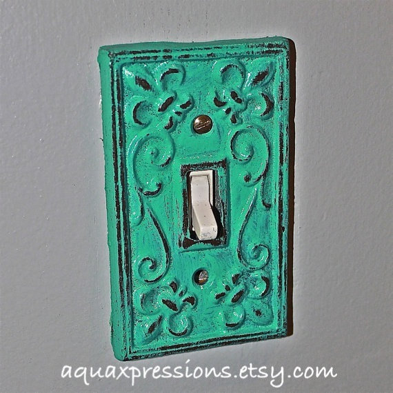 Laguna green decorative light switch from aquaxpressions on etsy - Wrought iron switch plate covers ...