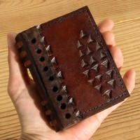 Vintage Leather Journal  Embossed Brown Miniature by TeoStudio
