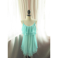 Breakfast at Tiffany's Angel Baby Blue Seafoam Minty Aqua Marie Antoinette Ballerina Vintage Flapper Dress