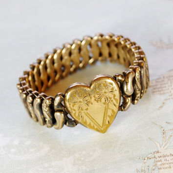 Vintage Expansion Bracelet, Heart Sweetheart, Gold Filled Sterling Silver, American Queen, PITMAN KEELER, 1940s WWII Jewelry