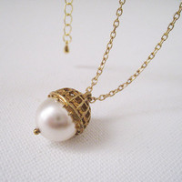 Acorn Necklace  Swarovski Pearl Vintage Gold by lunashineshine