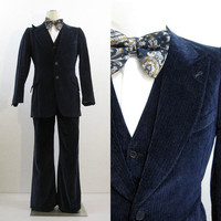 70s Suit Vintage Men's Blue Velvet 3 Piece Vest Jacket Pants Holiday 40 34