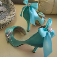 Blue Shoes Beach Wedding Tiffany Blue Wedding Bridal by Parisxox